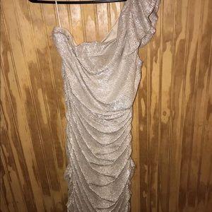 one shoulder silver dress, stretch ruched